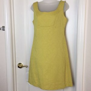 Anthropologie Yellow Brocade Sheath Dress